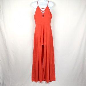NWT A'Gaci Red Flowy Dress Romper
